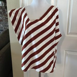 Brown and White Striped Anthropologie Top